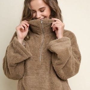 Long Sleeve Fuzzy Knit Half Zip Pullover Sweater